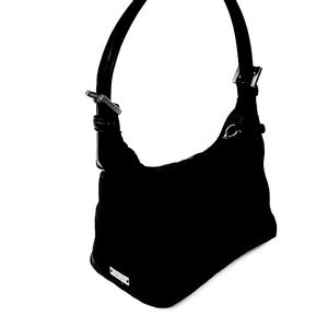 Coach Black Canvas Mini Hobo Bag / Small Baguette